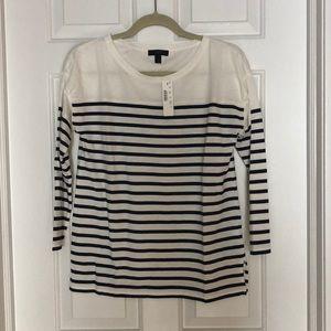 Jcrew 3/4 Sleeve Tee, Navy/white stripe, small